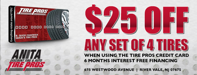 $25 Off Any Set of Four Tires, with Tire Pros Credit Card