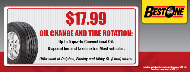 $17.99 Oil Change and Rotation Coupon
