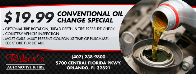 $19.95 Conventional Oil Change Special
