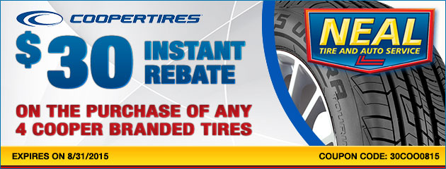 $30 instant rebate on the purchase of any 4 Cooper Branded Tires.