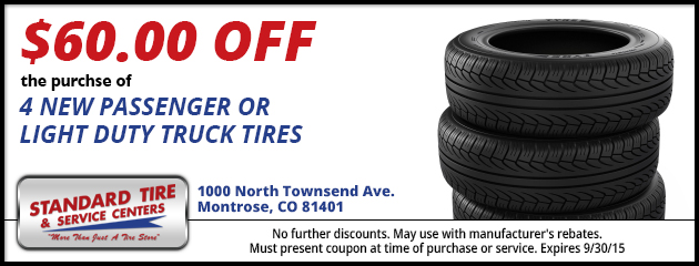 $60.00 OFF PURCHASE OF 4 NEW TIRES