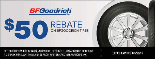 $50 Rebate On BFGoodrich Tires