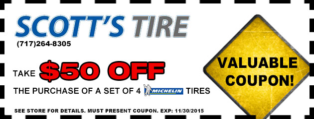 Take $50 off the purchase of a set of four Michelin tires