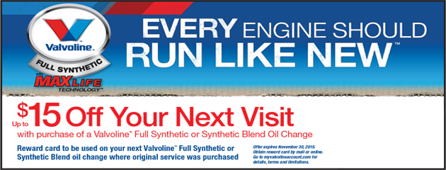 Valvoline Rebate - Receive $15 Off Your Next Visit
