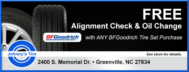 Free Alignment Check and Oil Change with Any BFGoodrich Tires