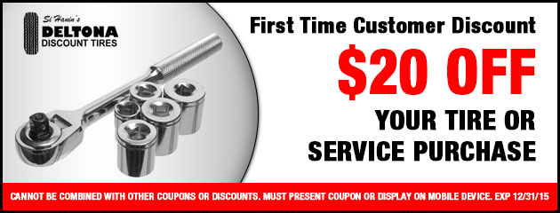 First Time customer Discount $20 off your tire or service purchase.