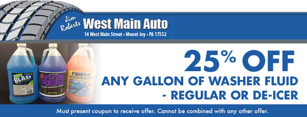 25% off any gallon of washer fluid