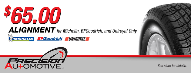 $65.00 Alignment for Michelin, BFGoodrich, and Uniroyal Tires Only