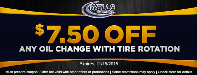 $7.50 Off Any Oil Change with Tire Rotation