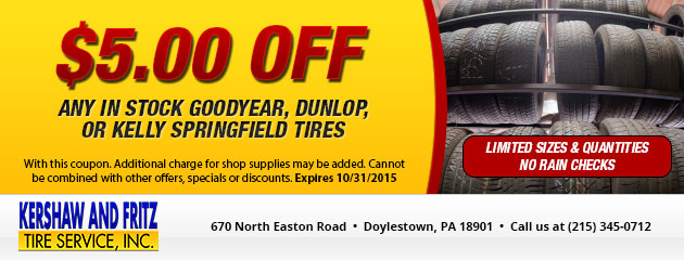 $5.00 Off Any In Stock Tires