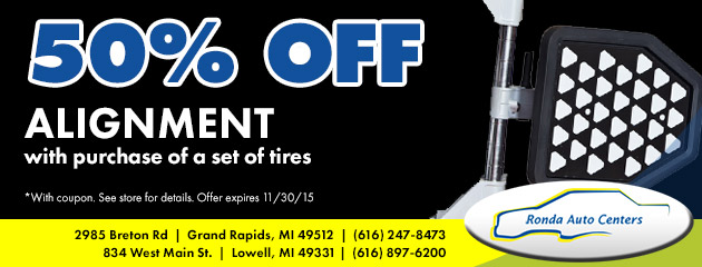 50% off alignment with purchase of a set of tires