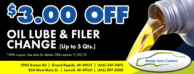 $3 off Oil, lube and filer change