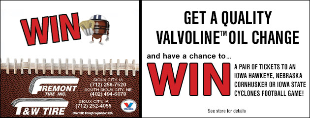 Get a chance to win tickets to an NCAA football game with an oil change!