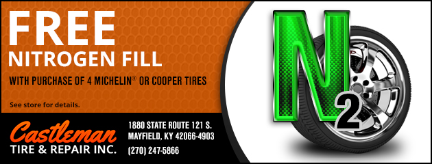Free Nitrogen Fill with Purchase of 4 Michelin or Cooper Tires