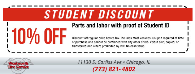 Student Discount - Receive 10% off parts and labor