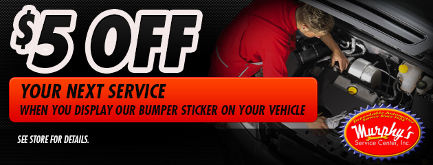 $5 off your service when you display our Bumper Sticker on your vehicle