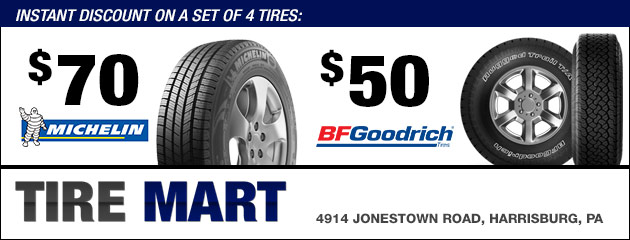 Instant Discount on a set of Michelin and BFGoodrich 4 Tires