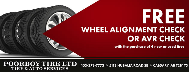 Free Alignment Check or AVR Check with purchase of 4 Tires
