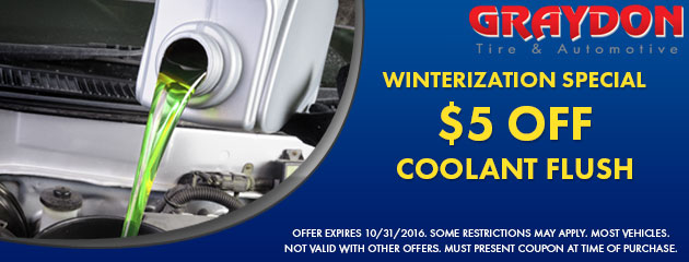 Winterization Special - $5 Off Coolant Flush pecial