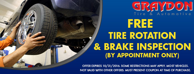 Free Tire Rotate and Brake Inspect