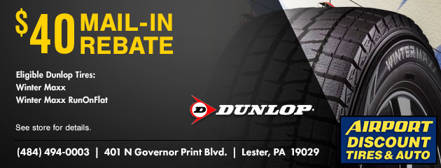 $40 Mail-In Rebate on Select Dunlop Tires