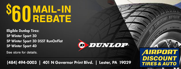 $60 Mail-In Rebate on Select Dunlop Tires