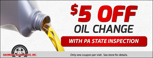 $5 Off Oil Change with PA State Inspection