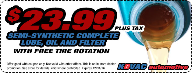 $23.99 Semi-Synthetic Lube, OIl & Filter