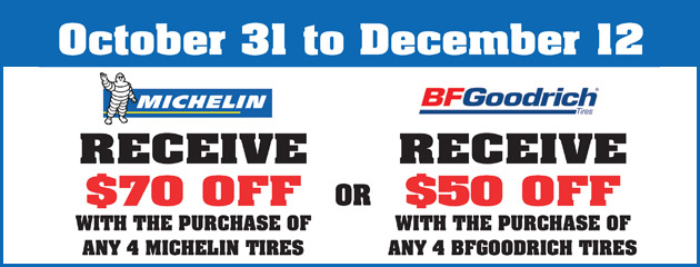 Save in Michelin and BFGoodrich Tires!