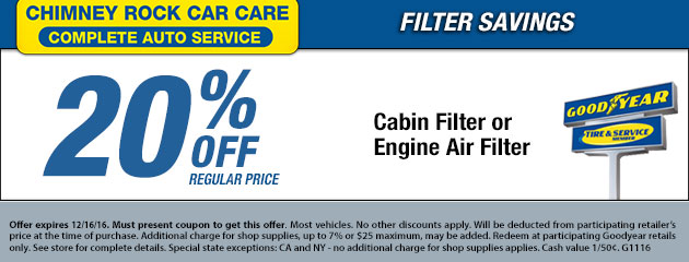 20% Off Cabin Filter or Engine Air Filter