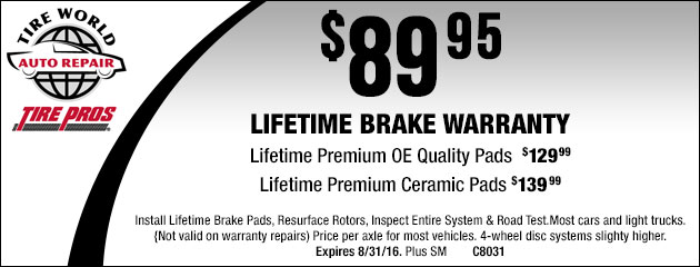 Lifetime Brake Warranty - $89.95