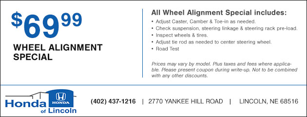 Wheel Alignment Special - $69.99