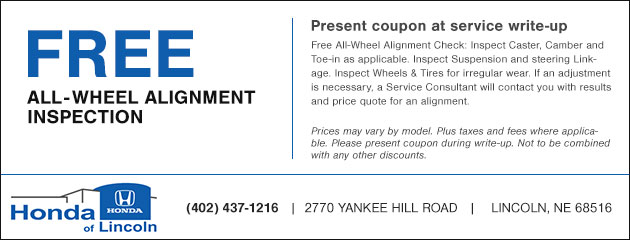Honda Of Lincoln >> Free All Wheel Alignment Inspection Special