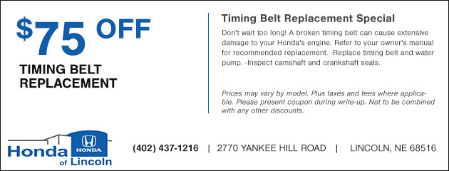 $75.00 Off Timing Belt Replacement Special