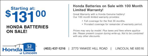 Honda Batteries on Sale - Starting at $131.95