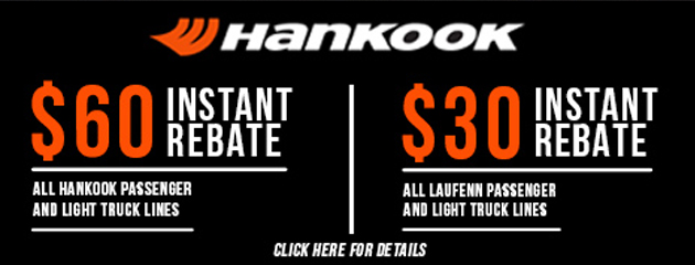 Instant Rebates on Hankook and Laufenn Tires