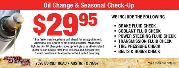 Oil Change & Seasonal Check-Up Special