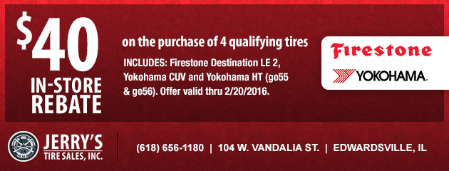Firestone/Yokohama $40 in-store Rebate