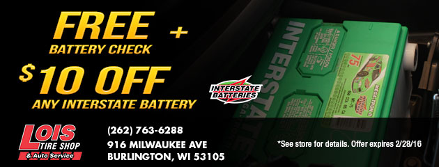 Free Battery Check \ $10 off any Interstate Battery