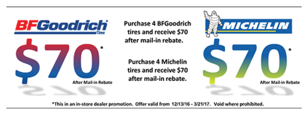 Receive a $70 Mail-in Rebate on BFGoodrich and Michelin Tires