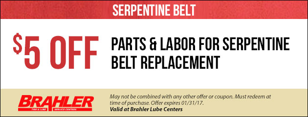 $5 Off Serpentine Belt Replacement