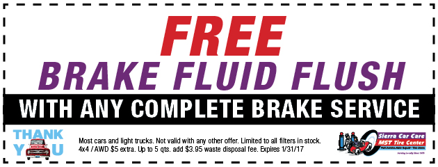 Free Brake Fluid Flush with any complete Brake Service