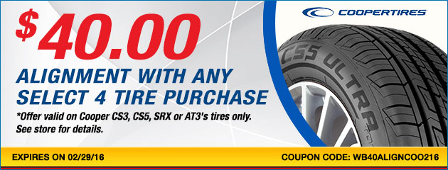 $40.00 alignment when purchasing any set of 4 Select Cooper Tires