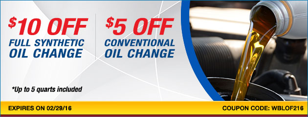 Oil Change Special -Save up to $10.00