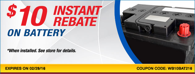 $10 instant rebate on Battery