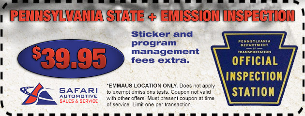 Pa state inspection and emissions coupons