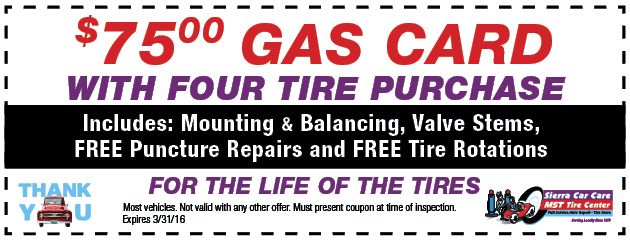 $75.00 Gas Card with Four Tire Purchase