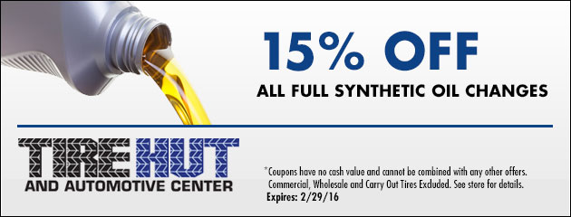 15% Off All Full Synthetic Oil Changes