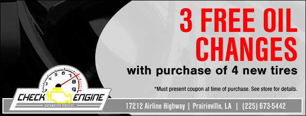 3 Free Oil Changes with Purchase of 4 New Tires