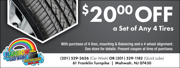 $20.00 OFF a set of Any 4 Tires